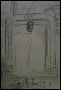 pencil sketch at the Thomaston Opera House before the show.