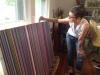 Jennifer Sabella demonstrates her paint pouring technique